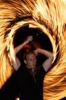 Feuershow, brennendes Seil